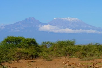 Blick auf den Kilimanjaro vom Severin Safari Camp im Tsavo West Nationalpark