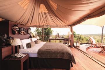 hochwertige afrikanische Gestaltung in einem Zelt des Mara Bushtops Camp