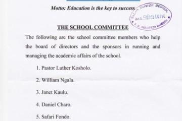 Neues Schulkomitee unserer Patenschule in Kenia