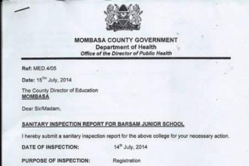 Zertifikat Gesundheitsamt