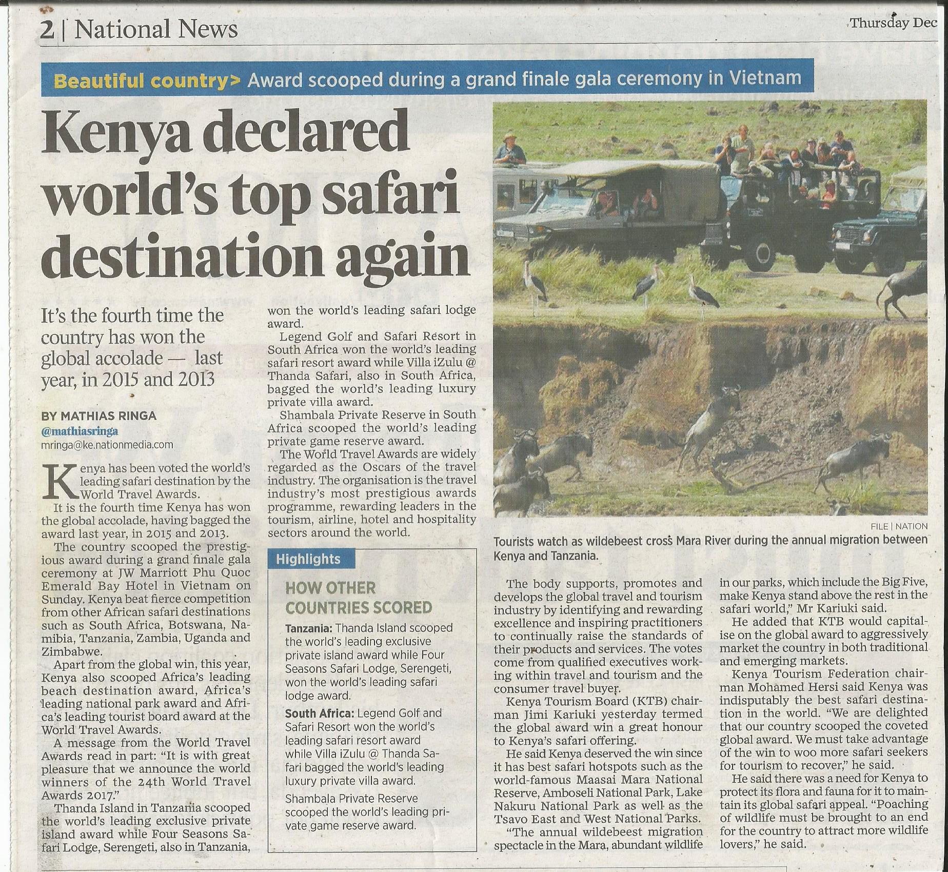 Kenia als Reiseland ausgezeichnet - Kenia Urlaub Keniaspezialist Reisekontor Schmidt