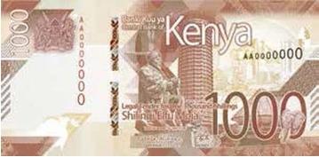 neuer 1000-Shilling Schein Kenia